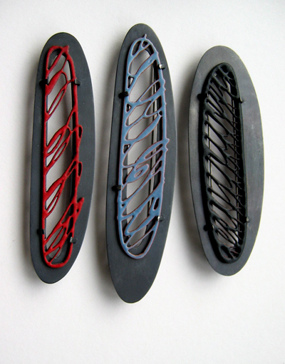 < />Scribble Series</em><br />brooches, silver, copper, vitreous enamel, 2009  » width= »284″ height= »348″ /><br /> <font size=