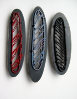 brooches, silver, copper, vitreous enamel, 2009